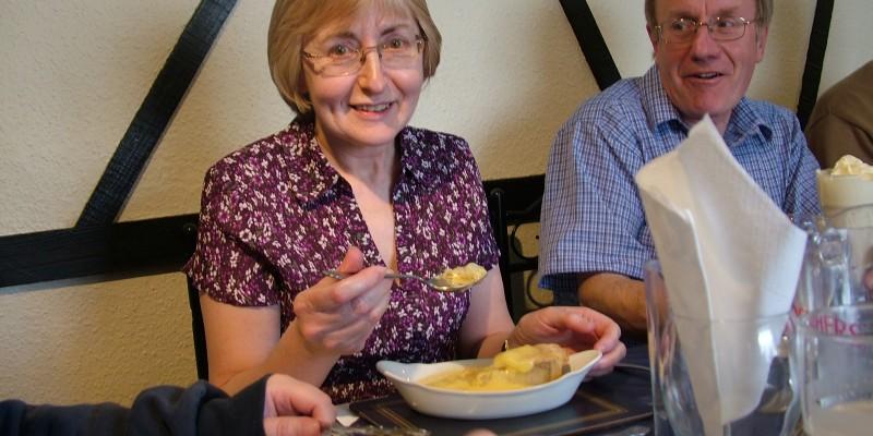Mrs Christine Hague enjoying her pudding