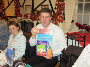 Prize winner David Brown at the Christmas meal 8-12-14