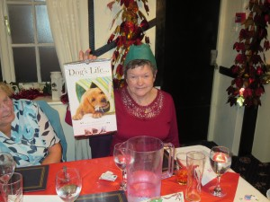 Prize winner Nora Chapman at the Christmas meal 8-12-14