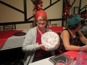 Prize winner Jenny Turner at the Christmas meal 8-12-13