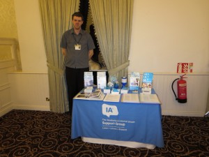 David Brown manning the Lincolnshire IA stand at a coffee morning organised by Convatec on 19th February 2014 in Scunthorpe