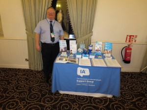 Paul Pyrah manning the Lincolnshire IA stand at a coffee morning organised by Convatec on 19th February 2014 in Scunthorpe