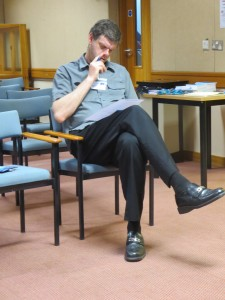 David Brown in deep concentration at the Lincolnshire IA AGM on 17th May 2014