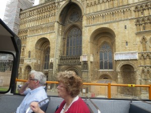 Views of Lincoln Cathedral at the Lincolnshire IA tour of Lincoln on the City of Lincoln open top bus on 8th July 2014