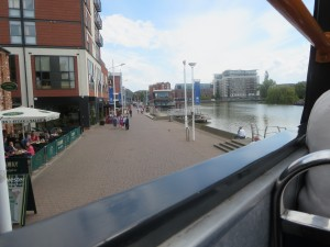 Views of Lincolns Brayford Pool at the Lincolnshire IA tour of Lincoln on the City of Lincoln open top bus on 8th July 2014
