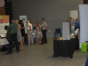 Guests and some of the exhibitors at the Lincoln County Hospital Colorectal Department Open day at the Drill Hall Lincoln on 24th July 2014