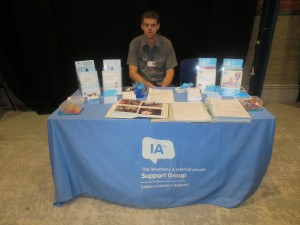 David Brown manning the Lincolnshire IA table top display at the Lincoln County Hospital Colorectal Department Open day at the Drill Hall Lincoln on 24th July 2014