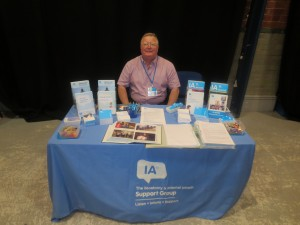 Paul Pyrah manning the Lincolnshire IA table top display at the Lincoln County Hospital Colorectal Department Open day at the Drill Hall Lincoln on 24th July 2014