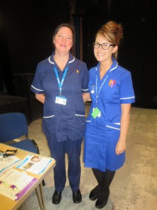 Lead colorectal nurse Specialist Mrs Jocelyn Fitzgerald and Sister Myfanwy (Miffy) Green at their Lincoln County Hospital Colorectal Department Open day at the Drill Hall Lincoln on 24th July 2014