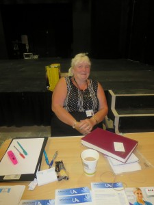 Colorectal Department Clerk Janice (Jan) McNamara at their Lincoln County Hospital Colorectal Department Open day at the Drill Hall Lincoln on 24th July 2014