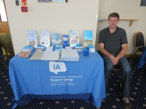 David Brown manning the Lincolnshire IA table top Display at a Pelican Healthcare Coffee Morning on Thursday 7th August 2014