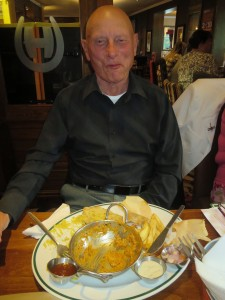 Lincs IA Late Summer meal 7th Sept 2014 Dave Childs struggling with his rather large curry