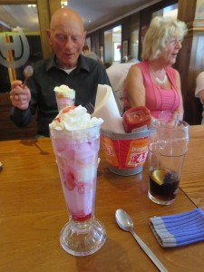 Lincs IA Late Summer meal 7th Sept 2014 Dave Childs enjoying his Knickerbocker Glory