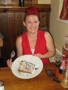 Lincs IA Late Summer meal 7th Sept 2014 Sarah Richardson with her rather large portion of cake