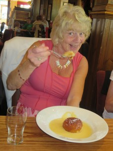 Lincs IA Late Summer meal 7th Sept 2014 Thelma Childs enjoying pudding