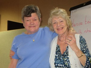 Lincolnshire IA Autumn Meeting Saturday 15th November 2014 Nora Chapman and Thelma Childs enjoying the occasion