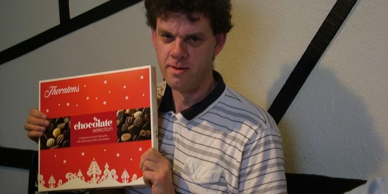 David Brown winning the chocolates